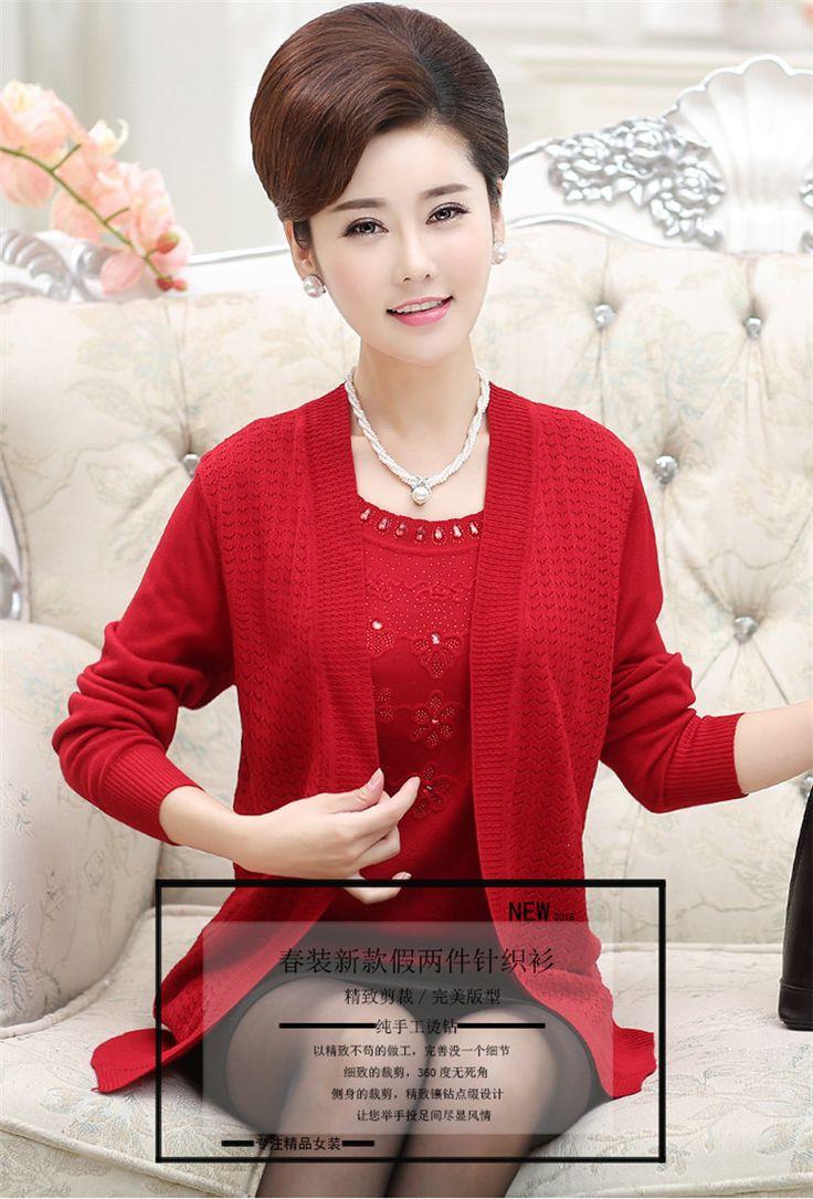 Весной и осенью в пожилых свитер вязать кардиган женский толстая мама загружен среднего возраста плюс удобрения XL с длинными рукавами пальто-Таобао