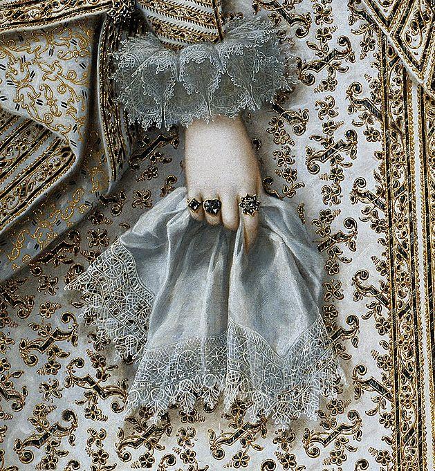 "wonderwarhol: "" Detail of Portrait of Elisabeth of France, 1620, by Rodrigo de Villandrando (1588-1622) """