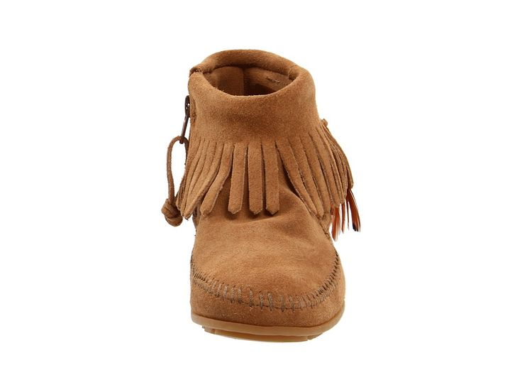 Minnetonka Concho/Feather Side Zip Boot Women's Pull-on Boots Taupe Suede