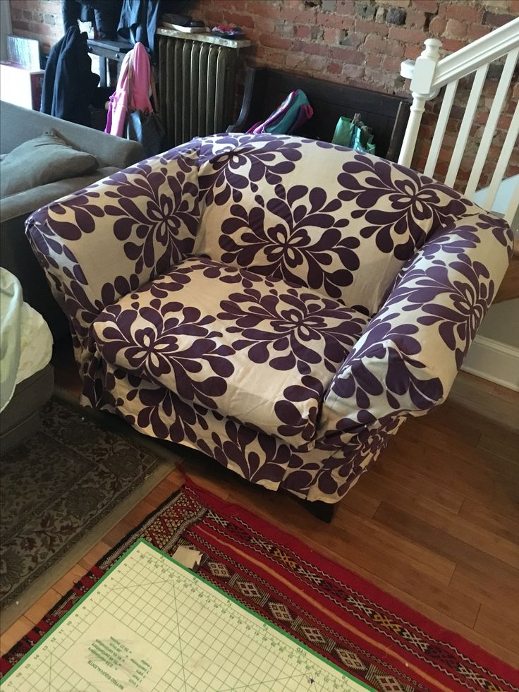 Slipcover from curtains gifted from bff. Overstuffed chair from MOtH listerv. 100% FREE!