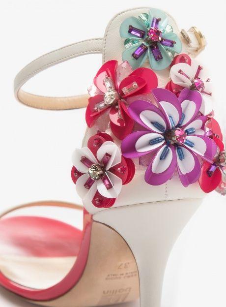 SANDALO IN PELLE BIANCA E ROSA SNOWDROP - Ballin Shoes