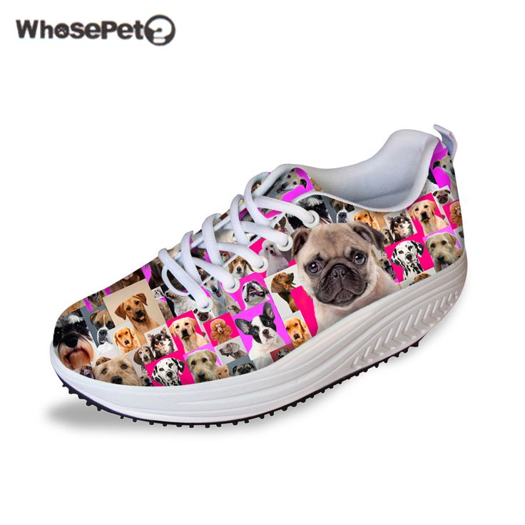 WHOSEPET Pugs Pink Shoes for Women Height Increasing Ladies Wedges Shoes Cute Dogs Printing Body Shaping Fitness Girls Shoes New