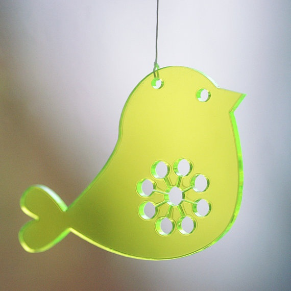 2 Birds  in neon green transparent lasercut plexiglas / by spagat, $13.00