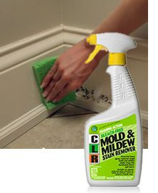 This stain remover is safe on a wide variety of surfaces including painted walls, ceramic tile, hardwood floors and baseboards as well as fabrics.   CLR Mold & Mildew Stain Remover will make quick work of mold and mildew stains on glass, metal, brick, concrete, marble, laminated countertops, fully cured and oil-based painted surfaces, hard plastics, automobile tires, wood, grout and fiberglass.