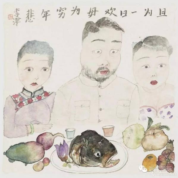 """津门画家李津:画最纯粹的""""红烧肉-绘画精品-靠垫儿"""