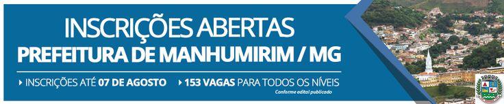 Edital Concurso Prefeitura de Manhumirim 2016 MG - Minas Gerais