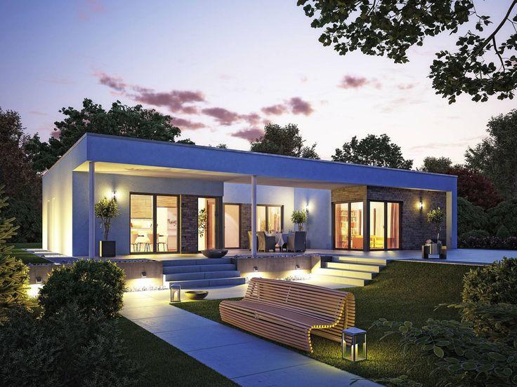 Hausbau modern flachdach  Hausentwurf Bungalow U-Form • Bungalow von OKAL Haus ...