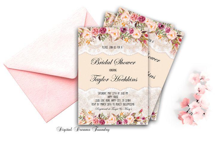 Boho Bridal Shower Invitation Lace Bridal Shower Blush Pink Floral Bridal Shower Invitation Rustic Bridal Shower Invitation Spring Wedding by DigitalDreamsFoundry on Etsy