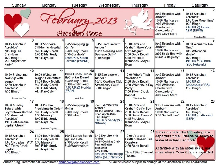 33 best activity calendars images on Pinterest Assisted living - activity calendar