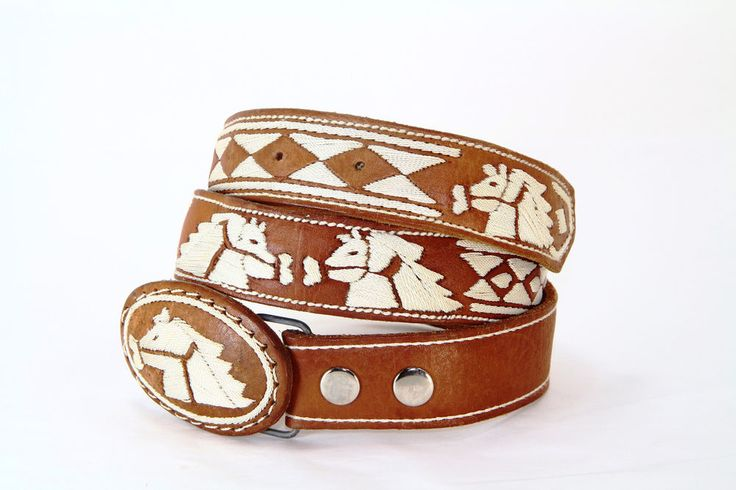 Cinto Piteado Mexicano Charro Belt Stictched Leather Horse Mens Mariachi  #Unbranded