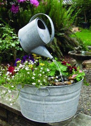 simple fountain: Gardens Ideas, Water Fountain, Water Gardens, Water Features, Wash Tubs, Gardens Fountain, Watering Cans, Water Cans, Gardens Art