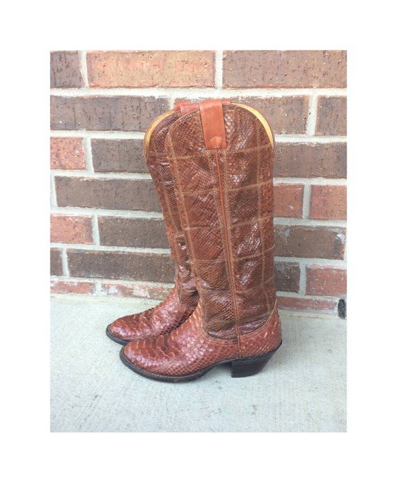 75075a2342b vtg 70s Nocona REAL SNAKESKIN Cowboy BOOTS 7 womens western brown ...