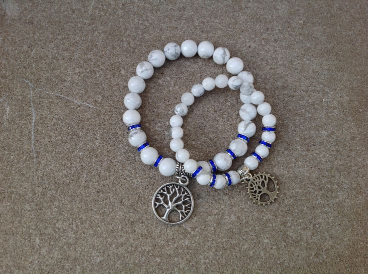 White Howlite Gemstone Bracelet, Mother daughter bracelet, Tree of Life bracelet, Good luck bracelet, Energy bracelet, Yoga bracelet #54 by LunarGalaxyGem on Etsy