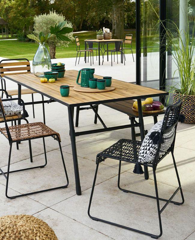 3 Ambiances Tendances Pour La Terrasse Avec La Redoute Shake My Blog En 2020 Table De Jardin Pliante Table De Jardin Banc Jardin