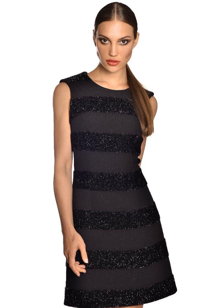 Lurex black striped dress