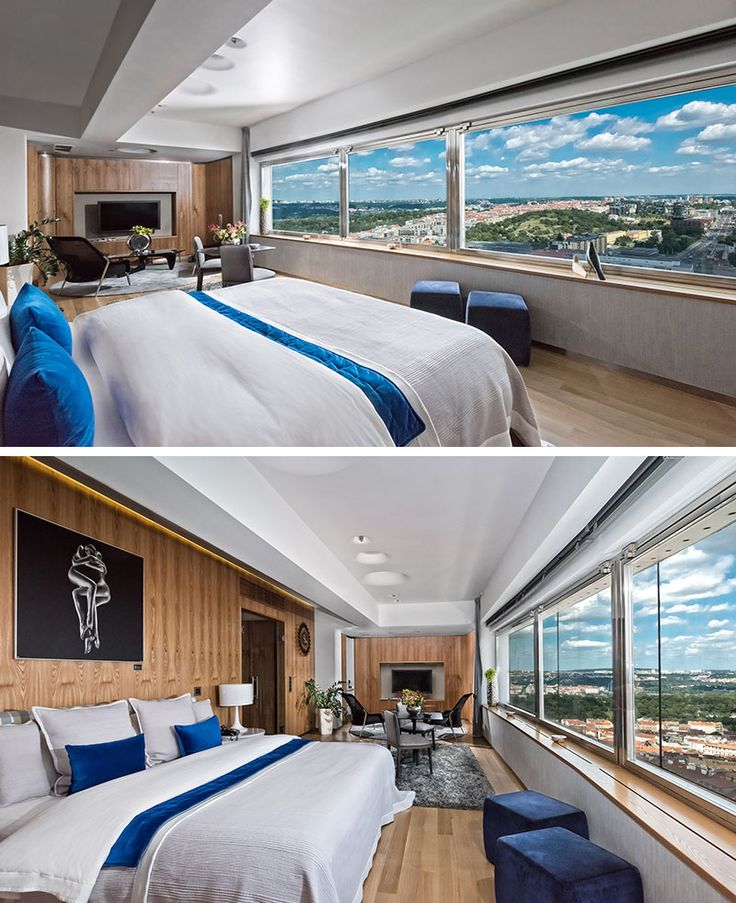 Located in one of the cabins of the Tower Park Praha, also known as the Žižkov Television Tower, in Prague, sits a hotel unlike any other you've stayed at. As the name suggests, the One Room Hotel indeed only has a single room.