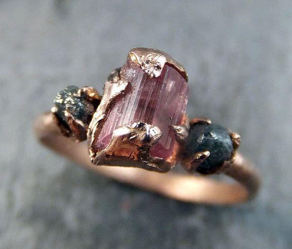 Raw Pink Tourmaline Diamond Rose Gold Engagement Ring Wedding Ring Custom One Of a Kind Gemstone Ring Three stone Ring byAngeline    Raw rough pink
