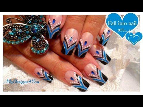 Blue French Tip Nail Art | Abstract Nail Art Design Tutorial ♥ Черно-синий Френч Маникюр - YouTube