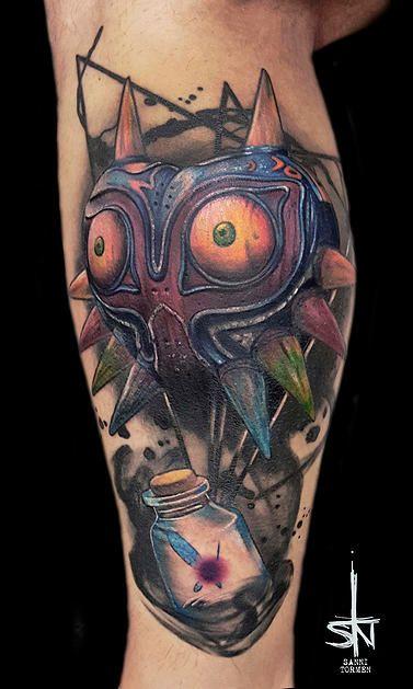 Majora's Mask from the legend of Zelda Nintendo Games tattoo by Sanni Tormen