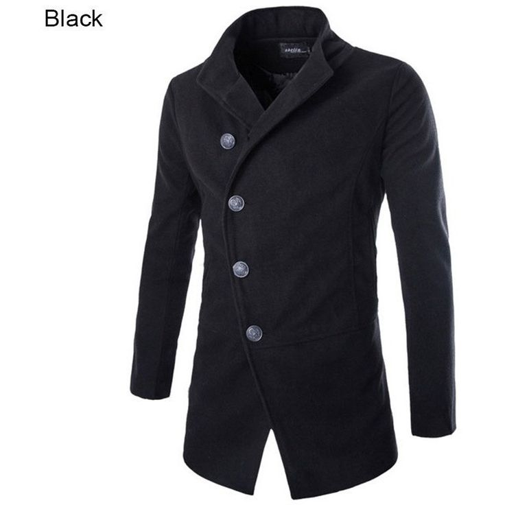 Winter Men Wool Jacket Coat Stand Collar Single Breasted, Solid Casual Long Men Overcoat M-XXL  #Thank #You #Sale