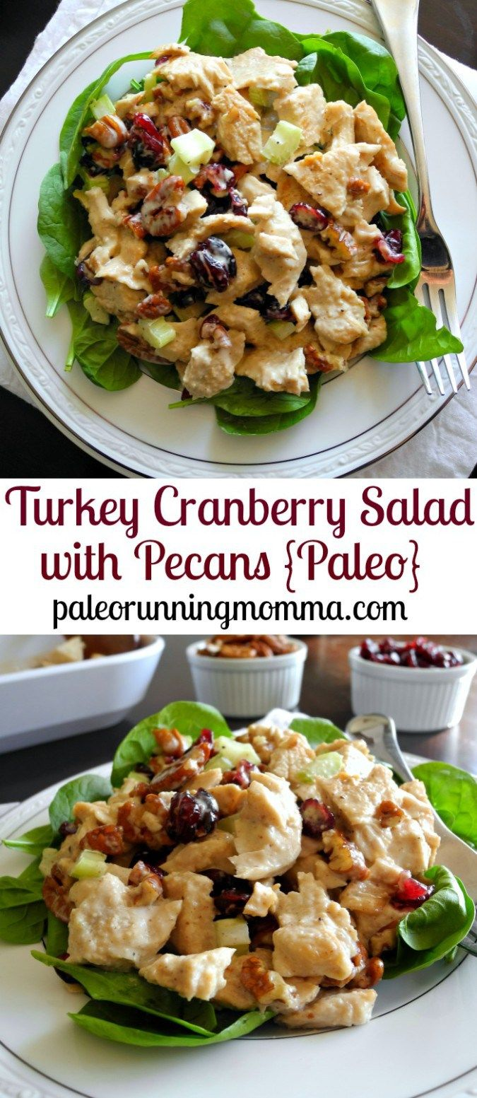 Turkey Cranberry Salad with Pecans - Paleo, Whole30, perfect for leftover turkey or chicken!