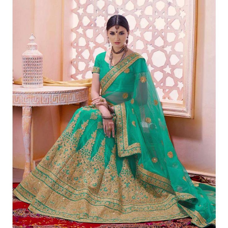 Sweet Turquoise Net Bridal #Lehenga Choli- $179.61