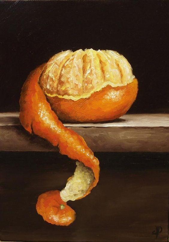 """(Still Life) J Palmer Daily, """"Peeled Clementine"""",S.D, Razão: Forma de como foi cortada a clementina"""