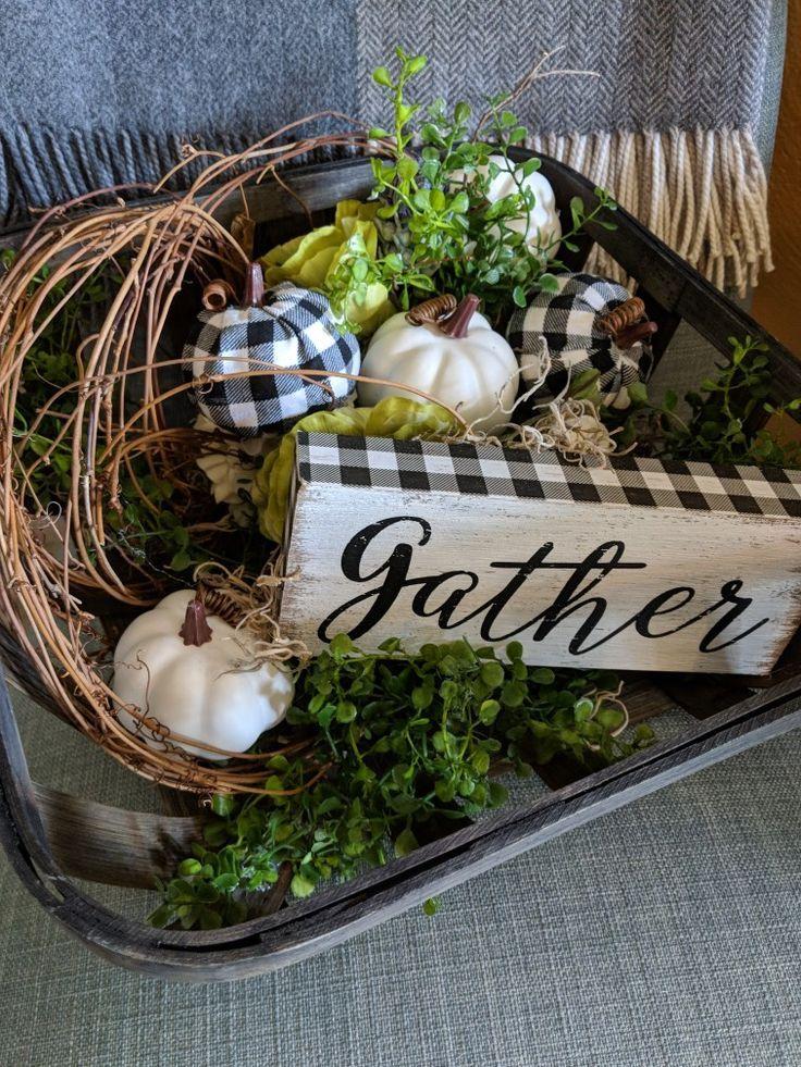 Fall Thanksgiving Buffalo Check Table Centerpiece