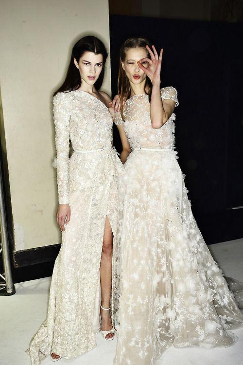 Embellished Flower Dresses @ Elie Saab Spring 2014 Couture Backstage #SS14 www.blueisinfashionthisyear.com