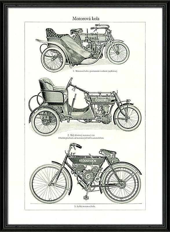 Detailní kresby historických motorových kol a tříkolek.