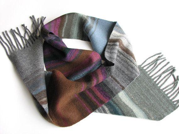 Asymmetrical Multicoloter Striped Woolen Scarf by zuagag, €50.00