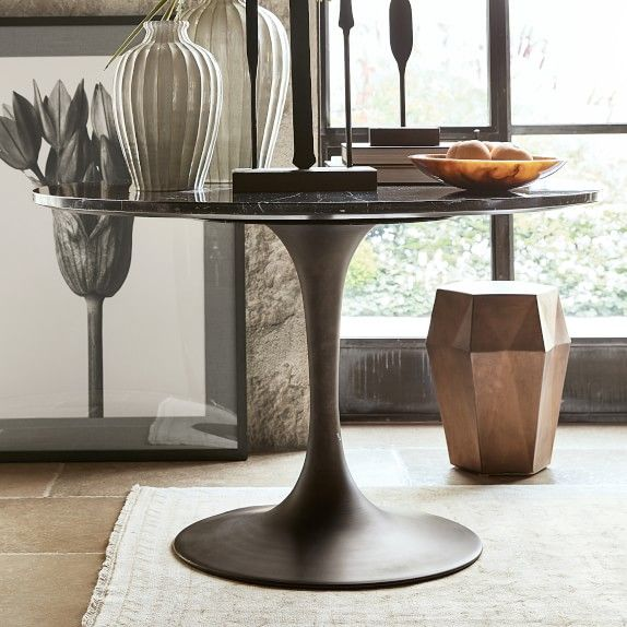 Tulip Pedestal Round Dining Table Aged Bronze Base Williams Sonoma Round Dining Table Dining Table Stone Dining Table