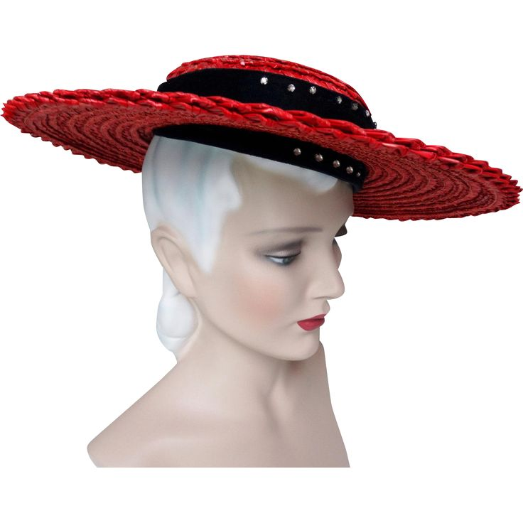 Vintage 1940s Hat//40s Hat//Red Hat//Old Hollywood//Rhinestones//Navy Blue Trim