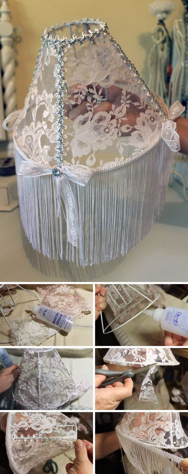 Shabby Chic Style Lampshade An easy tutorial I did quite some time ago :)  http://helmarusa.typepad.com/blog/2014/06/diy-lace-lampshade.html