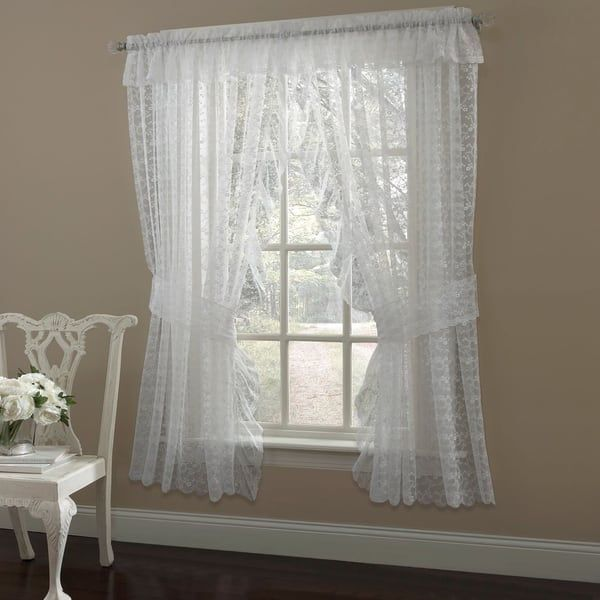 Ruffled Bridal Lace Curtain Panel Pair With Scrolling Flower