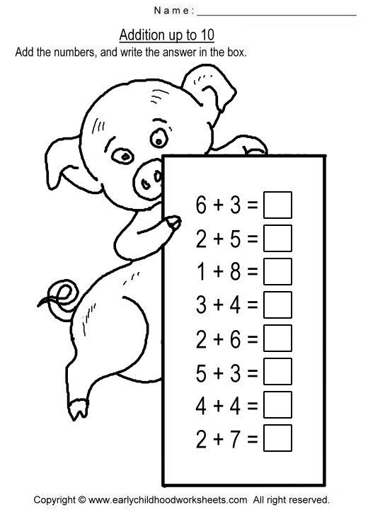 Addition up to 10 Worksheets