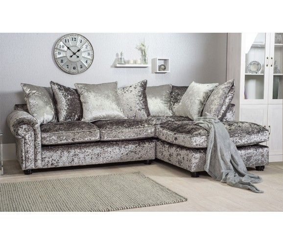 Marilyn Crushed Velvet Corner Sofa Silver Grey