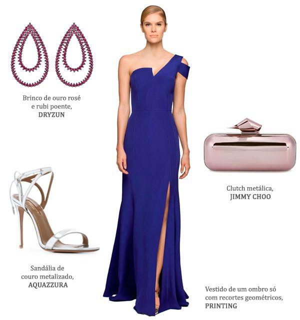 Look madrinha: vestido azul escuro Printing + brinco rosa Dryzun + clutch rosa Jimmy Choo + sandália prata Aquazzura