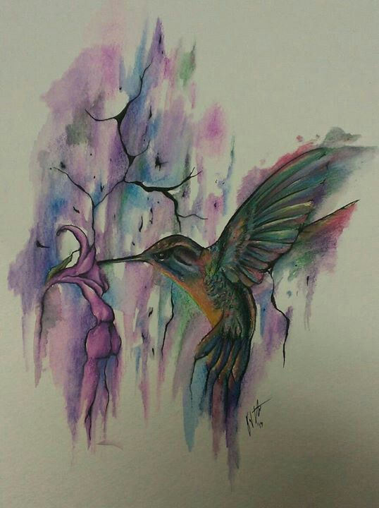 watercolor humming bird Tattoo desing Idea