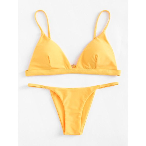 SheIn(sheinside) Adjustable Straps Triangle Bikini Set ($10) ❤ liked on Polyvore featuring swimwear, bikinis, yellow, triangle bikinis, triangle swim wear, triangle swimwear, yellow swimwear and bikini swim wear