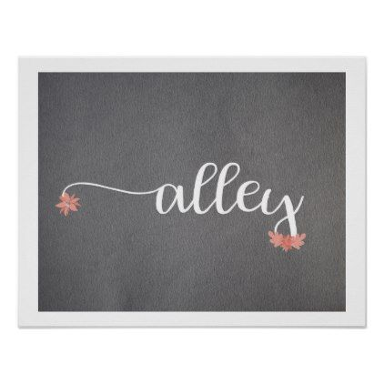Baby Nursery Art Baby Name Flowers Gray White Poster - flowers floral flower design unique style