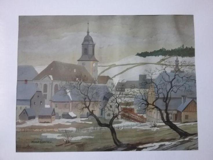 verkaufe sehr schönes Aquarell mit dem MotivWinter im Erzgebirge - Ansicht einer Kirche und den Häusern danebenAquarell ist signiert unten links Horst LorenzBildgrösse 30cm x 39cmgerahmt hinter Glas - Gesamtgrösse mit Rahmen 52cm x 63cmZustand gutHeinz Lorenz wurde 1884 in Elterlein / Erzgebirge geboren.Er war lange Kunsterzieher und Seminaroberlehrer am Lehrerseminar in Oschatz. Seine Werke wurden in Auktionshäusern verkauft und sind auch im Internet in der Kunstgalerie Oschatz zu…