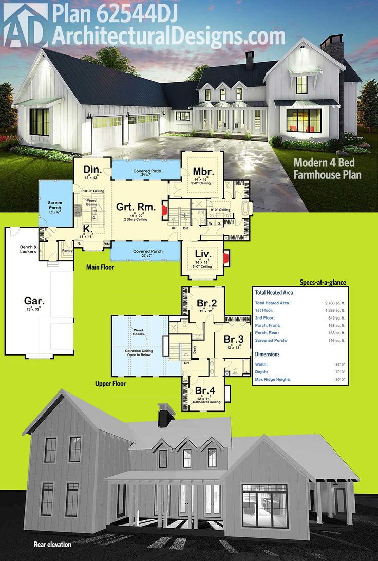 Architectural Designs 4 Bed Modern Farmhouse Plan, with several client photo albums, has been a favorite for those seeking a new spin on a tried-and-true form. Ready when you are. Where do YOU want to build?