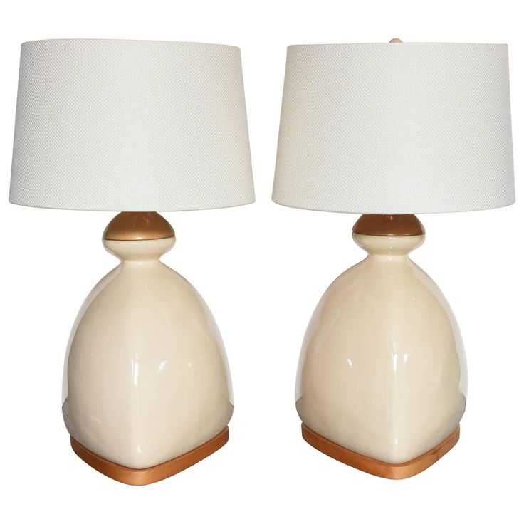 Pair of Scandinavian Ceramic and Wood Table Lamps | From a unique collection of antique and modern table lamps at https://www.1stdibs.com/furniture/lighting/table-lamps/