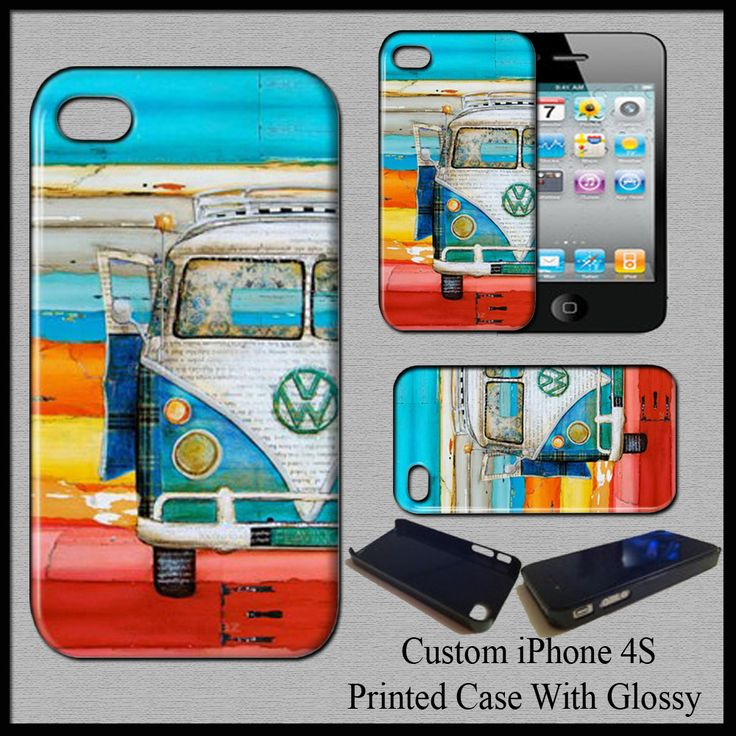 Hard Case Cover For iPhone 4S VW Vintage Beach Volkswagen Retro Van Fit For Gift