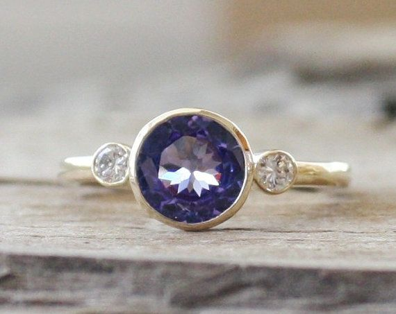 3 Stone Tanzanite and Diamond Bezel Ring in 14K by Studio1040