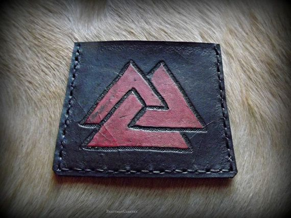 Viking Symbol Front Pocket Slim Wallet  Valnut by BeastmanCaravan