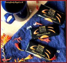Promising Beauty: Deliciously Dark; Moser Roth Chocolate Orange 'Mousse au Chocolat' Perfect little bars of dark chocolate with autumn colours. Cosy