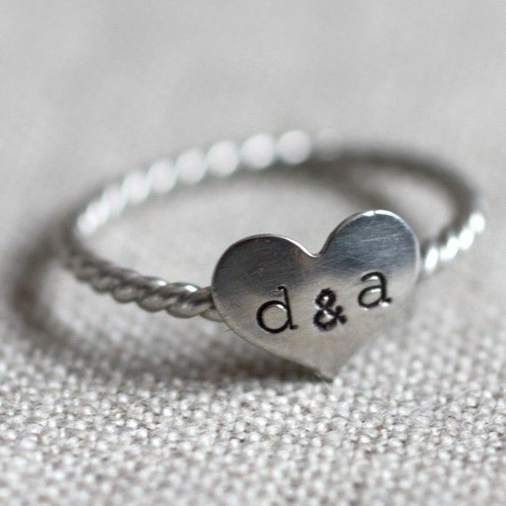 Sterling Silver Promise Ring with Couples Initials
