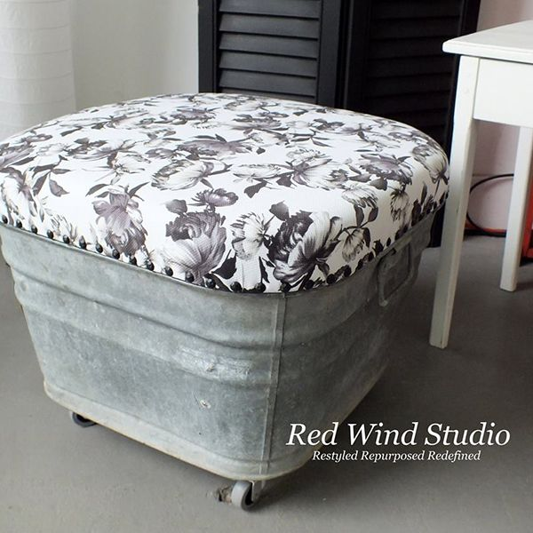 When you drop by Red Wind Studio you will find a really cool DIY for a Galvanized Wash Tub Ottoman. Just think of the possibilities of style with wonderful fabrics! Perfect for adding some major farmhouse charm!